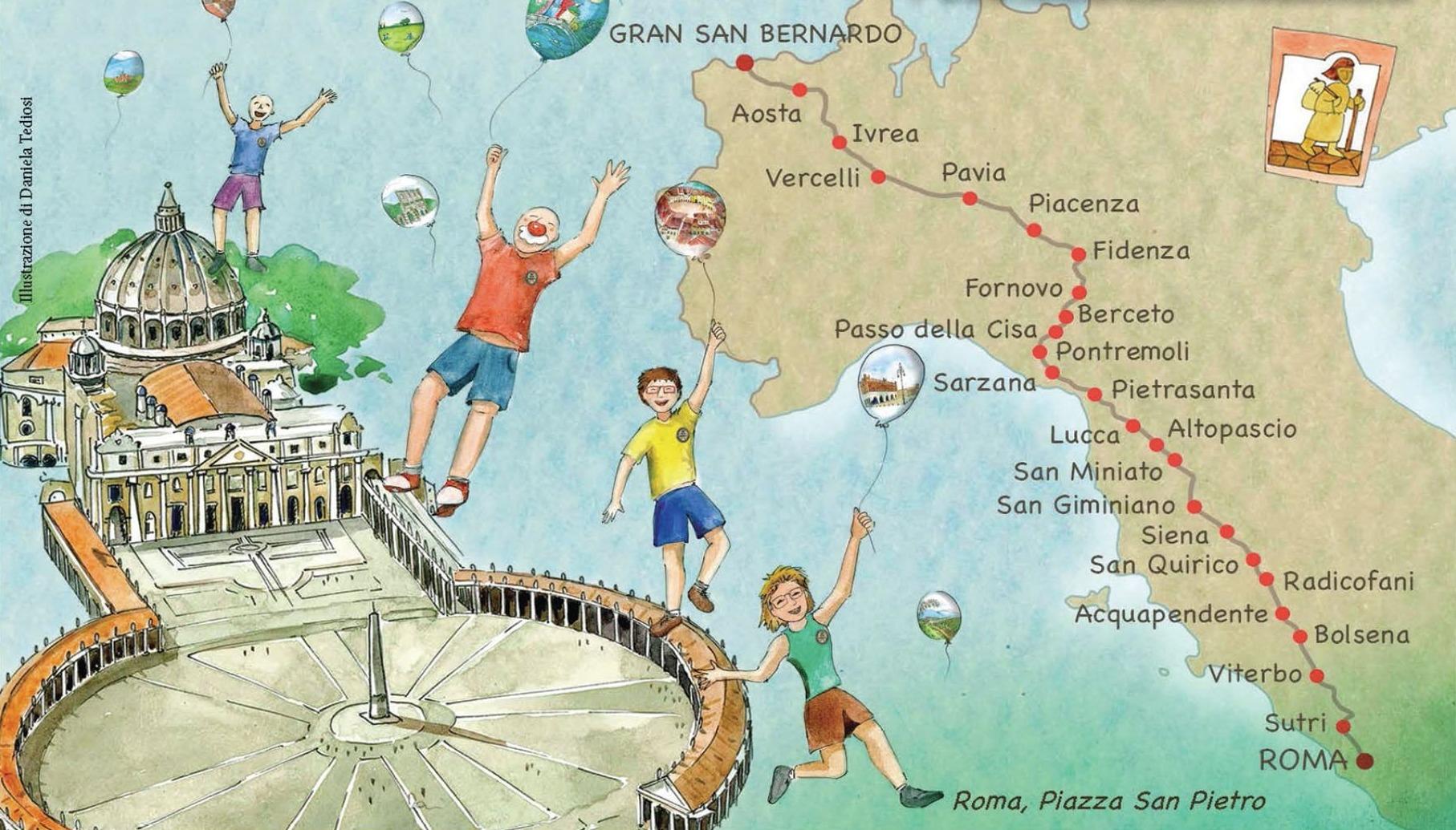 cartolina con piazza san pietro ed i bambini con i palloncini